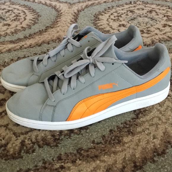 Mens Gray Orange Puma Sneakers Size 15